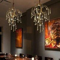 Chandeliers Art Designer LED Gold Branch Chandelier Handwork Alu. Crystal Glass Water Drop Hanging Light Indoor Lighting Suspended Lamp