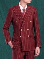 Мужские костюмы набор красных полосы Blazer + брюки двойной грудью свадебный жених носить деловой человек партия мальчик досуг костюм 44 до 54