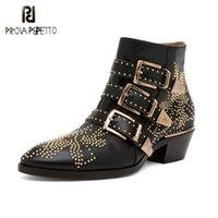 Prova Perfetto роскошные заклепки цветок короткими сапогими женские круглые носки Susanna Custeded натуральные кожаные ботинки Zapatos de Mujer 201215
