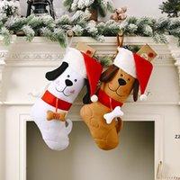 Рождественская чулка, вышитая собака с шаткой Santa шаблон Xmas висит кулон-орнамент подарков подарок HWF10117