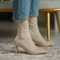 Ins strong push retention net red pointed thin heel socks boots and ankle short spring autumn high elastic