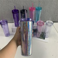 10 Colors 20oz Acrylic Skinnny Tumbler with Lid Straw Double Walled AS Reusable Plastic Cups Clear Straight Travel Water Bottles FY4640