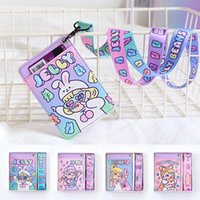 Card Holders Girls Cartoon Leather Holder Purse Cute Print Neck Hanging Student Bus Cover Money Wallet Case