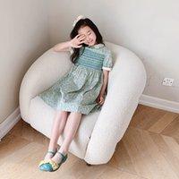 أزياء جديدة الفتيات اللباس 2021 الصيف الاطفال فتاة الزهور حزب فساتين الحلو الطفل جميل الملابس القطن الأخضر