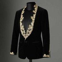 2021 Bräutigam Velvet Black Herren Anzug Mantel Gold Applique Spitze Schal Revers Slim Blazer Plus Nur Eine Jacke Formale Anlass Abendkleidung