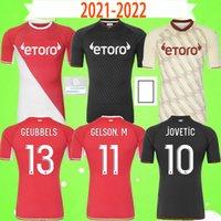 2021 2022 AS Monaco BEN YEDDER VOLLAND DIOP Camisas de futebol TCHOUAMENI JOVETIC GOLOVIN Football Shirt 21 22 maillot Flocage JORGE Men Kids Kit uniforme Top Quality S-2XL