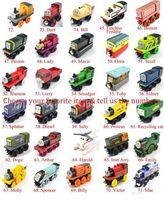 Juguetes de dibujos animados Tren de madera y juguete de coche estilo primitivo estilo chuchería del regalo para niños