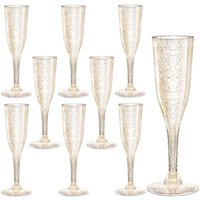 Gold Glitter Plastic Champagne Flutes Clear Plastic Toasting Goblet Disposable Wedding Party Cocktail Cups Wine Decoration GWE7587