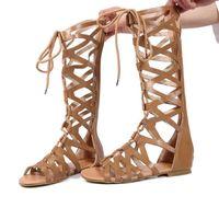 SAGACE ROMAN GLADIADOR VENDIENTES Sandalias Mujeres Rodilla Altas Sandalias Piso Botas Femininas Zapatos Chicas Verano Hollow Tobillo Boot J25