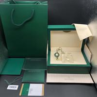 Оригинальные правильные подходящие бумаги для защитной карты подарочная сумка из верхней части зеленого дерева часы для часов для Rolex Boxes буклетки часы печати пользовательские карты