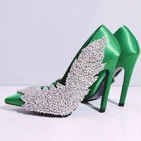 Обувь для одежды Декоративные Шинни Листья Спинным по естественным Алмазные Свадебные Сексуальные Насосы Chic Satin Stiletto Caels Eden Bridal
