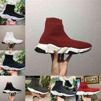 Großhandel 2021 Speed Trainer Schwarz Rot Luxus Hohe lässige Socke Schuhe Männer Frauen Günstige Mode Paris Designer Sneakers Hohe Qualität EUR36-45