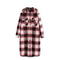 Women's Wool & Blends [EWQ] Red Clothing Plaid Woolen Coat Women Spring Autumn 2021 Lapel Loose Single Breasted Pocket Long Sleeve Overcoat