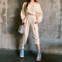 2021 Pamuk Gerçek Kadın Takım Gevşek Uzun kollu Kazak + Takım Pantolon 2-piece Set Terry Bez Tek Boyun Katı Renk