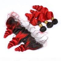 Indische Jungfrau-menschliches haare # 1b rot ombre lose welle webart bündel mit frontal hellrot ombre haarfüße mit 13x4 spitze frontal schließung