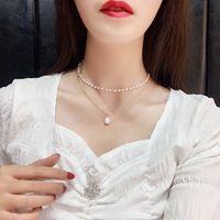 Кулон ожерелья мода мульти слои белый натуральный пресноводный жемчужный колье колье ожерелье золотая титановая сталь