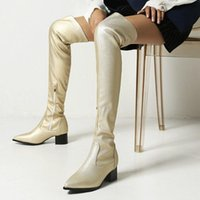 Boots Blue Gray Gold Sexy Thigh Women Fashion Zipper Square Heel Over The Knee Autumn Winter Pointed Toe Shoes Woman