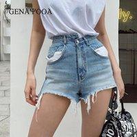 Pantaloncini estivi Genayooa per le donne 2021 vita alta jeans blu pantaloncini da donna streetwear irregolare jeans femminino jeans stile coreano