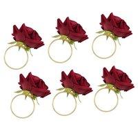 6pcs / lot Romantic Rose Tovagliolo Anelli Alloga Tovaglioli Tovaglioli Holder per ricevimenti di nozze Regali Decorazione per banchetti vacanze