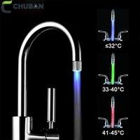 Chuban Fashion Robinet de l'eau durable LED Couleur Atmosphère lumières Changer de couleur Selon la température de l'eau Température 3 couleurs Matériel A166