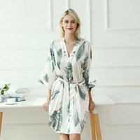Robe Cardigan caliente hembra Pijamas Simulación Impresión de seda de gran tamaño Servicio de hogar Albornoz Nuevo camisón Pijamas de mujer