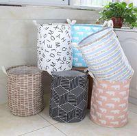 Paniers Paniers de stockage Vêtements Organisation Toile Sac à linge Bacs Enfants Chambre Jouets Sacs de rangement Seau 15 Styles WWA168