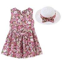 패션 플로라 프린트 민소매 드레스 + 모자 정장 2021 여름 아이들 소녀 드레스 아기 공주 스커트 태양 모자 어린이 야외 파티 캐주얼 의류 G501Vwu
