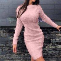 Casual Dresses Autumn Long Sleeves Women's Dress Plush Warm Sweater Soft Slim Knee-Length Female Party Vestidos Elegantes Para Mujer