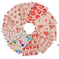 Bolsas de algodón de la Navidad de lino de colores 10x14 13x18cm Party Muslin Muslin Dulces Regalos Joyas Packaging Bolsas con cordón Bolsas de regalo Bolsas DHE8285