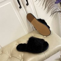 2021 New Mink Fur Flat Mujeres Hombres Slippers Imprimir Diapositivas Unisex Zapatillas para interiores con Tamaño 35-45