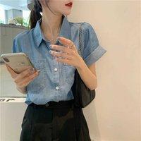 Shirts Women Blouse Summer Loose Single Olo Collar Short-sleeved Denim Shirt Top for Blusas Ropa De Mujer