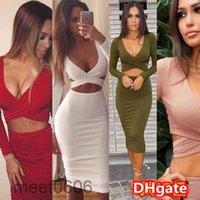 2021 spring and summer new women's dress Navel Long Sleeve Bag Hip Knee-length Party party dress meet0606