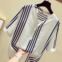 Fje novo verão camisa de verão plus size manga curta solta casual v-pescoço senhoras tops vertical listrado blusas tamanho grande S-5XL D19 210302