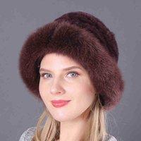 Женский фахион REX кролика вязаные шапочки вершины настоящий Breim Lady меховая шапка сплошной зимой русская теплая шляпа л
