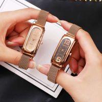 watch Tiktok lady square dial quartz lazy CCQ magnet strap