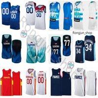 2021 Jersey de baloncesto impreso Jersey Tokypo Olímpicos Eslovenia Grecia Francia España EE.UU. DONCICE 77 LUKA EDO EDO MIS MIKE MIKE TOBEY ZORAN DRAGIC VLATKO CANCAR DIMEC RUPNIK prepélico