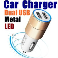 Metal Dual USB Port Car Charger Universal Led Charging Adapter For smart phone and tablet pc