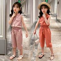2021 ملابس الأطفال ملابس الفتيات ربيع جديد الدعاوى بلا أكمام السراويل الشيفون + القطن التلبيب المألوف الأميرة 2 قطع مجموعة kxga