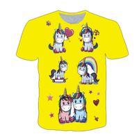 Mädchen Kleidung 4 bis 14 Jahre Neue Super Zings Unicornio Für Mädchen Einhorn Farbe Blei Malerei T-Shirt Druck Mädchen Tshirt Polyester