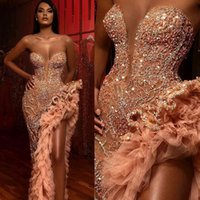 Elegant Evening Formal Dresses 2020 Sweetheart Beading Crystals Sexy Prom Gowns Thigh High Slits Sequined Tiered Ruffles robes de