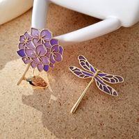 Сиреневый стрекоза Enamel Pin благородные элегантные очаровательные нежные цветы броши Одежда воротник рюкзак украшения украшения значок подарки для друзей