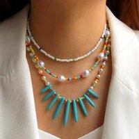 المختنقون متعدد الطبقات الأزياء البوهيمي العرقية نمط بذور اليدوية حبة القلب الحب قلادة قلادة المرأة مجوهرات بيجو هدية
