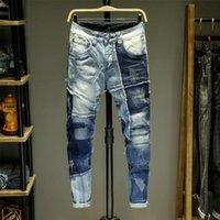 Homens jeans splice jeans homme skinny denim rasgado Broeken Heren Motociclista Stretch Calças Slim Fit Calças Quentes Pantalon