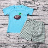 유아 아기 소년 의류 오리 자수 코튼 탑 셔츠 짠된 Seersucker 격자 무늬 반바지 고품질 2pcs