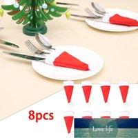 Christmas Decorations 8 Pcs Caps Cutlery Holder Fork Spoon Pocket Xmas Decor Bag Home Navidad Decorative Hat Tableware Cover Storage Tool1