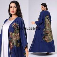 Müslüman 2 Parça Set Kadın Kimono Robe Açık Abaya Türk Pakistan Hırka Fas Kaftan Elbise İslam Giysileri Femme Musulman