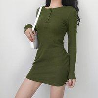 Casual Dresses Women Autumn Long Sleeve Threaded Green Elastic Mini Dress White Slim T-shirt Bottoming 2021