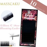 MASSCAKU 1s Blooming Easy Fan Individual Eyelash Extensions Volume False Lashes Beauty Makeup Cilios 8-18mm C D Black Supplies