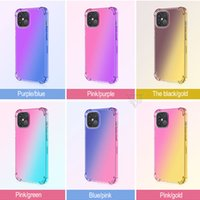 Gradient Dual Color Phone Cases Transparent TPU Shockproof Case for iPhone 12 Mini 11 Pro Max XR XS 8 Plus S20 Note20 Ultra