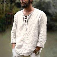 Plus Size Tees Men's Linen V Neck bandage T shirts Male Solid Color Long Sleeves Casual Cotton Linens tshirt Tops M-3XL